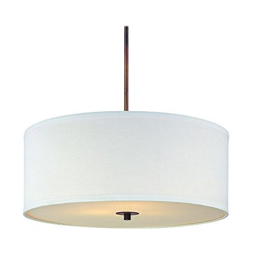 Bronze Drum Pendant Light with White Shade ()