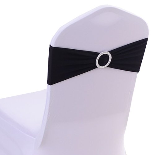 uniquemystyleサテン椅子カバーストレッチバンドバックル付きスライダサッシ弓ホテルウェディングBanquet Decor Untied 10pcs ブラック  ブラック B0778J7GJF