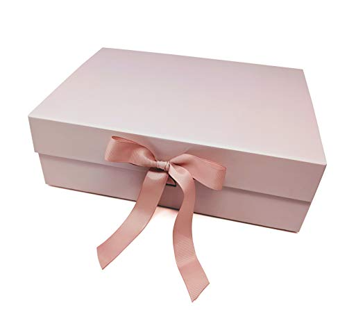 Make It Gift Boxes with Ribbon & Magnetic Closure - 12.9 x 9.8 x 4.3 Luxury Gift Packaging - Wedding - Bridemaid Gifts - Proposal Gift Boxes - Engagement Party - Teacher Gifts - Baby Shower (Pink)