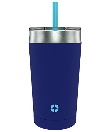 Ello Rise Vacuum Insulated Stainless Steel Kids Tumbler with Optional Straw, Touchdown Blue, 12 Oz