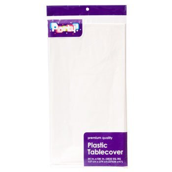 Pack of 4: Large WHITE Plastic Rectangle Party Tablecloth 54 x 108 Inches -