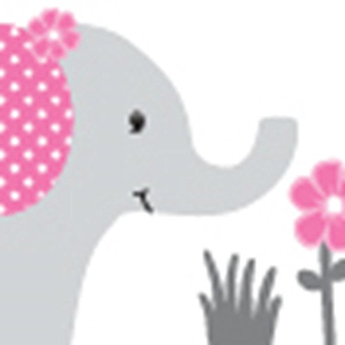 Fabric Wall Decals, Animal Decal, Elephant Tree Decal, Pink and Gray by Nursery Decals and More (Image #1)
