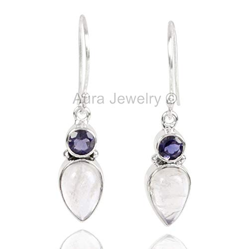 - 925 Sterling Silver Earrings for Womens, Drop & Dangle Earrings, Iolite, Rainbow Moonstone Earrings Sterling Silver for Womens, Gift for Womens, Mom, Bridesmaid Gift, Handmade Jewelry