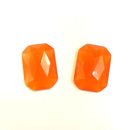 24 Neon Orange Rectangle Faceted DIY Art Resin Flatback Rhinestone foiled 13mm x 18mm ~ T2-26 x 6