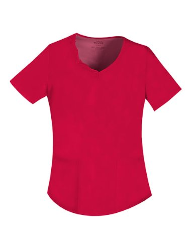 Cherokee 1707 Women's V-Neck Embroidered Top Red X-Small