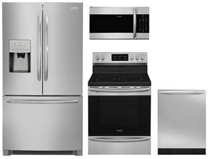 Electric French Door Refrigerator - Frigidaire 4-Piece Stainless Steel Kitchen Package with FGHB2868TF 36