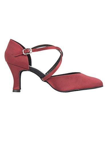 Zapatos baile mujer cómodos y elegantes con tiras cruzadas de So Danca para Salsa Rumba Tango Latino Danza Baile Salón BL156 Suela de cromo tacón 6,5 cm satín negro burdeos cobre burdeos
