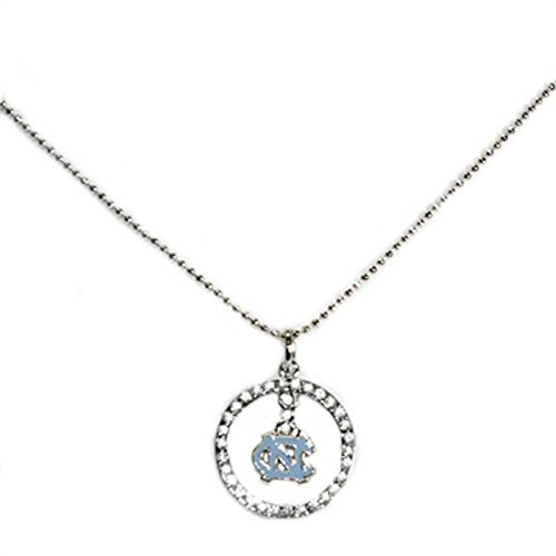 Sports Team Accessories North Carolina Tar Heels Studded Hoop and Dangle Logo Necklace (Charm Logo Hanging Necklace)