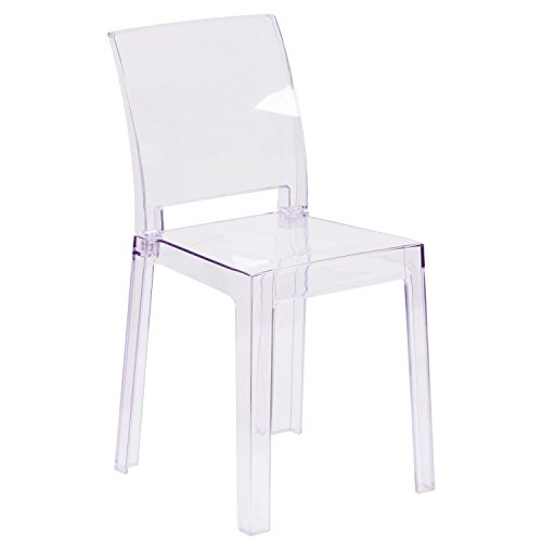 Flash Furniture Ghost Chair with Square Back in Transparent Crystal (Rolling Chair Acrylic)