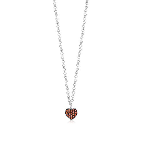 UNICORNJ Childrens Sterling Silver 925 Orange Cubic Zirconia Pave Small Heart Pendant Necklace Black Rhodium 15