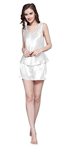 LILKSILK Conjunto de Camisola de Seda - 100% Seda de Mora Natural de Seda de 22 MM, Ideal para Verano Blanco