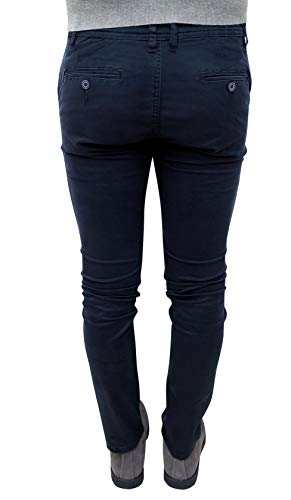 Evoga Blu Uomo Invernali Casual Pantaloni Fit Slim Scuro RnxwCz1RP