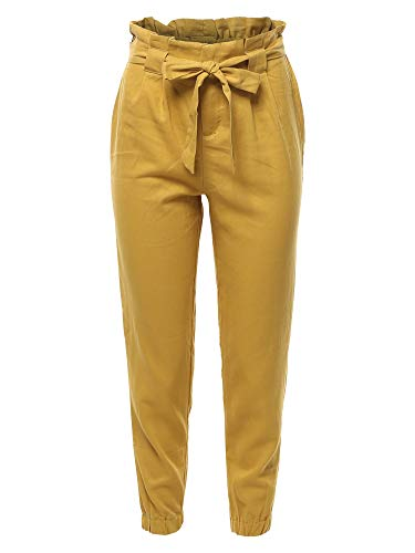 Made by Emma Linen Paper Bag High Waist Pants Mustard M ()
