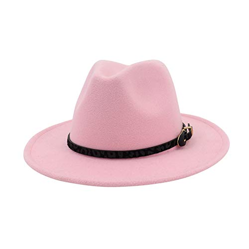8882a5e8b374 Vim Tree Womens Wide Brim Felt Fedora Hat Ladies Panama Hat with Belt Buckle  Pink