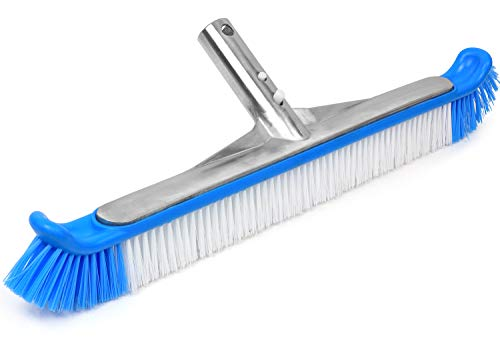 "Greenco Pool Brush Heavy Duty Aluminum Back Extra Wide 20"" with EZ Clip and Strong Bristles for Cleaning Pool Floor & Wall"