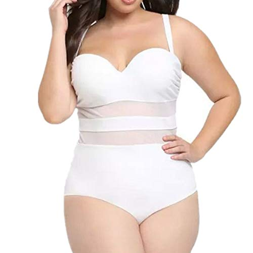 Kehen Plus Size Women One Piece Swimsuit Mesh Ruched Tummy Control Monokini Swimwear White XXX-Largre
