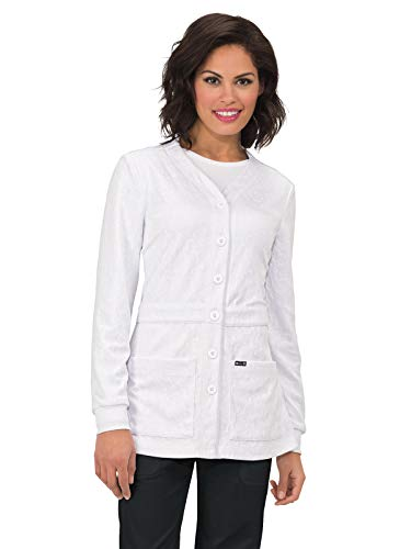 - koi 440 Women's Claire Knit Scrub Jacket White L