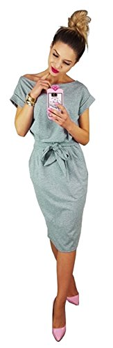Longwu Women's Elegant Short Sleeve Wear to Work Casual Pencil Dress with Belt Grey-L]()