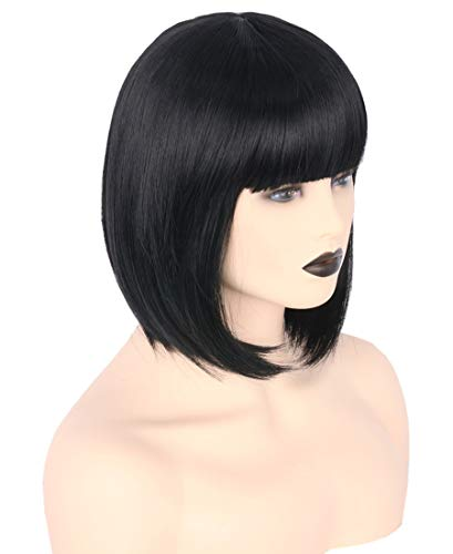 Topcosplay Womens Bob Hair Wigs Short Black Flat Bangs Cosplay Halloween Costume Wigs