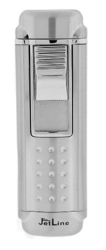 JetLine Magna Quad Torch Red Flame Lighter (Chrome Silver) by JetLine Lighters