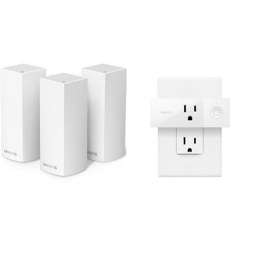 Price comparison product image Linksys Velop Tri-band Whole Home WiFi Mesh Node, 3-Pack + Wemo Mini Smart Plug
