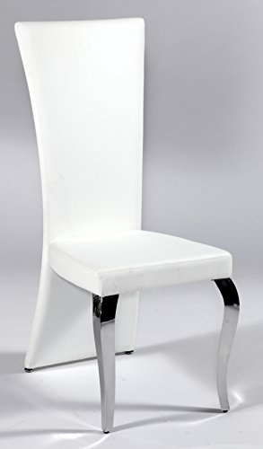 Milan Tess Transitional Rectangular High Back Side Chair (Set of 2), White High Side Chair
