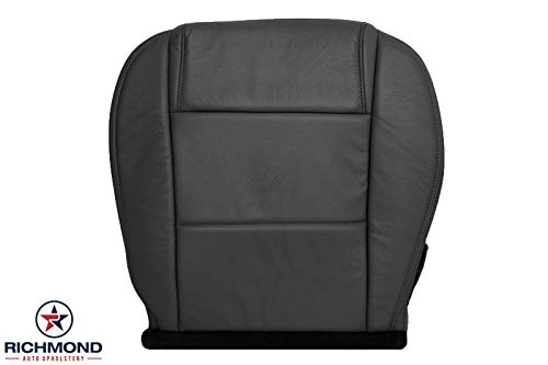 Richmond Auto Upholstery - Driver Side Bottom Replacement Leather Seat Cover, Black (Compatible with 2005-2009 Ford Mustang V6) (Dark Charcoal Black)