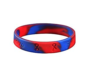 Congenital Heart Defects Red and Blue Silicone Bracelet (Retail)