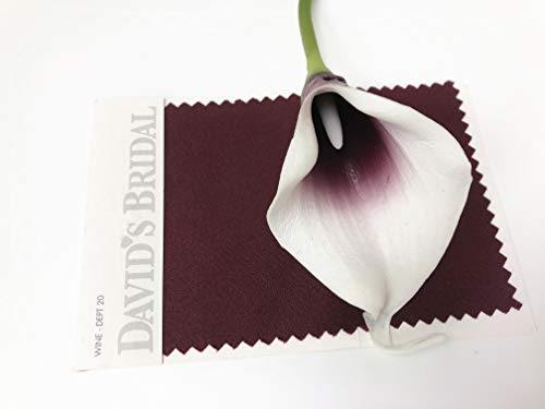 Angel-Isabella-LLC-20pc-Set-of-Keepsake-Artificial-Real-Touch-Calla-Lily-with-Small-Bloom-Perfect-for-Making-Bouquet-BoutonniereCorsage-Picasso-WineBurgundy