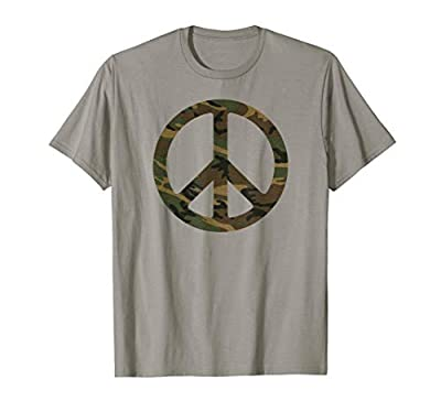 Camo Camouflage Peace Sign Army Peace Symbol T-Shirt