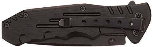 MTECH USA MT 378 Folding Tactical Knife, Tanto Blade, Black Steel Handle, 4 1/2 Inch Closed