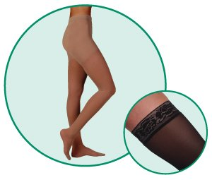 Juzo Hostess Pantyhose With High Elastic Body Part 20-30mmHg Closed Toe, IV, Noblesse