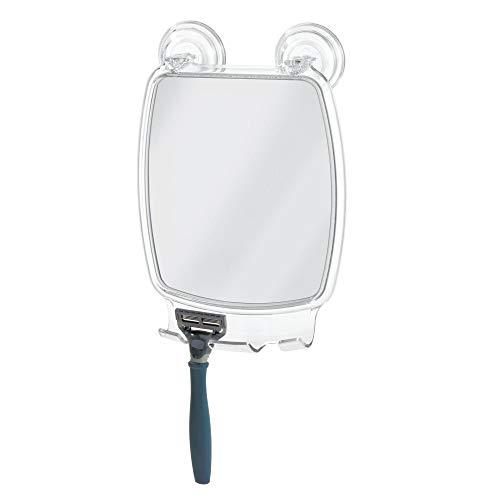 iDesign Plastic Power Lock Suction Shower Shaving Mirror with Razor Holder, Fog-Free -