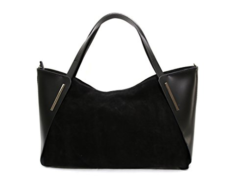 Made Womens Womens Handbag Parma Leather Black Beige Italy in Leather XPawqP