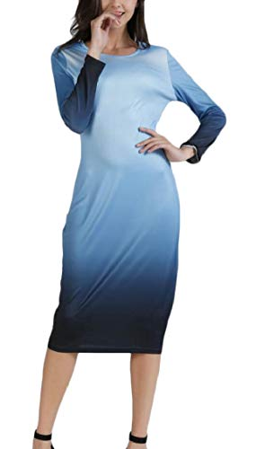 Sleeve Pencil Light Womens Midi Color Gradient Casual Jaycargogo Long Blue Crewneck Dress qIvF884