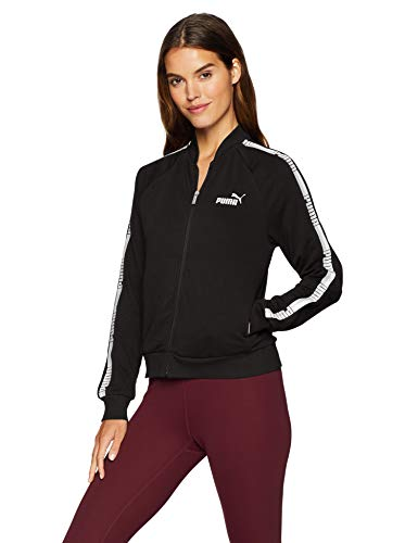 PUMA Women's Tape Full Zip Jacket French Terry, Cotton Black, - Jacket Puma Lightweight Womens