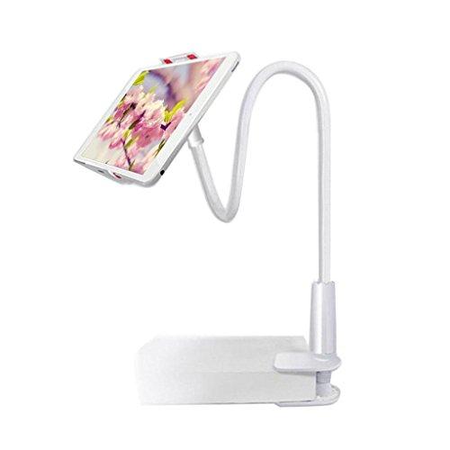 Hometom Cell Phone Stand,Tablet Clip Holder, Long Arm Gooseneck Flexible Lazy Bracket (White)