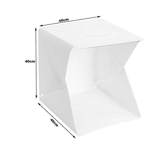 Generico Estudio fotográfico Plegable 40x40x40, luz LED incluida, portátill para fotografías de Alta Calidad, Estudio...