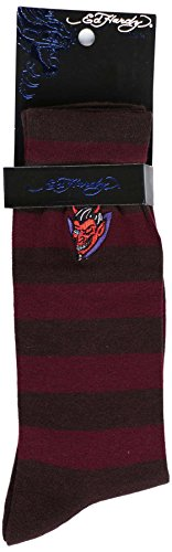 Ed Hardy Men's Striped Dress Socks-Brown/Wine-10-13 (Ed Hardy Wine compare prices)