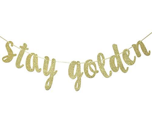 Golden Birthday Party Supplies (Stay Golden Glitter Gold Banner, Golden Birthday Banner, Lucky Birthday)