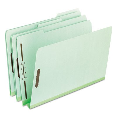 Pressboard Folders, 2 Fasteners, 2'' Expansion, 1/3 Tab, Legal, Green, 25/Box