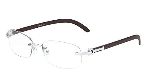 Gift Depot TM Rimless Oval Dean Slim Dapper Metal & Wood Eyeglasses / Clear Lens Sunglasses - Frames Euro (Silver & Cherry Wood)
