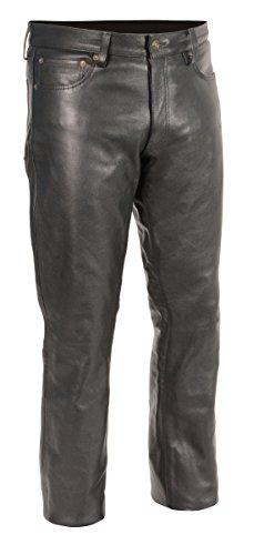 M-BOSS Motorcycle Apparel-BOS15500-BLACK-40-Men's Classic 5 Pocket Leather Pants-BLACK-40