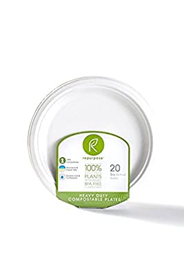 Repurpose 100% Compostable, Tree Free, Plant-Based Plates, Round, 9 inch