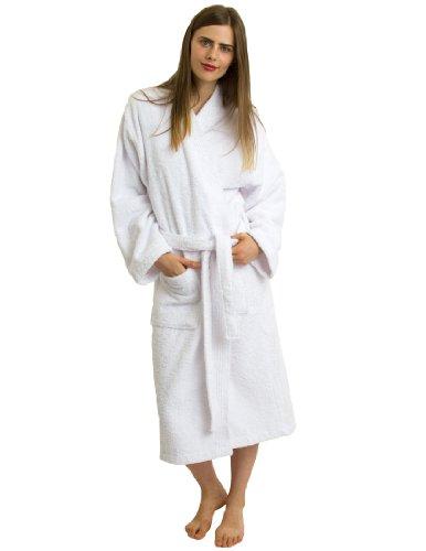TowelSelections Women's Turkish Cotton Bathrobe Terry Kimono Robe X-Small/Small White