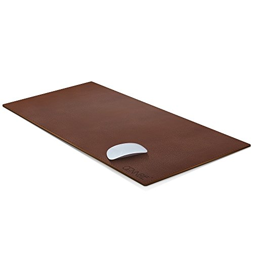 "CENNBIE Desk Pad 35.5""x15.5"" Large Size Artificial Leather Mouse Pad Reversible Design Stylish for Office & Home(Brown)"