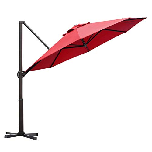 Abba Patio Offset Cantilever 11 Foot Hanging Outdoor Patio Umbrella, Dark Red