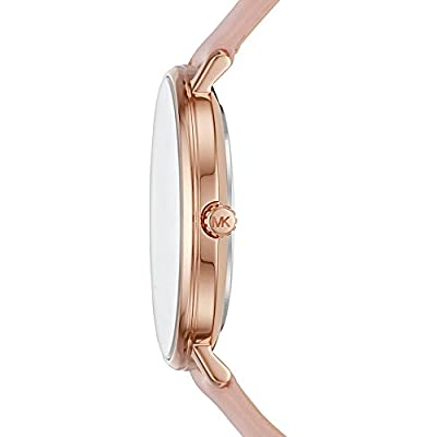 Michael Kors Watches Womens Rose Gold-Tone and Blush Leather Pyper Watch