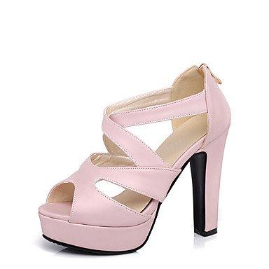 de casual Chunky Blanco Otoño vestido Rosa Negro Sandalias talón Verano LFNLYX amp; PU Parte Pink Beige Primavera otros noche mujer otros wvq1Oz7