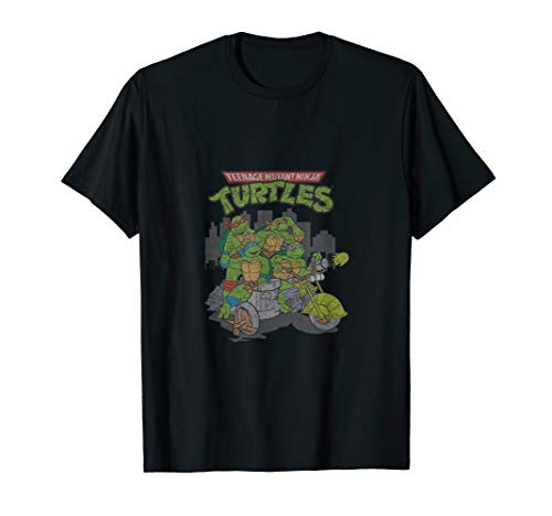 Distressed Tmnt Group Pose With Logo T-Shirt ()